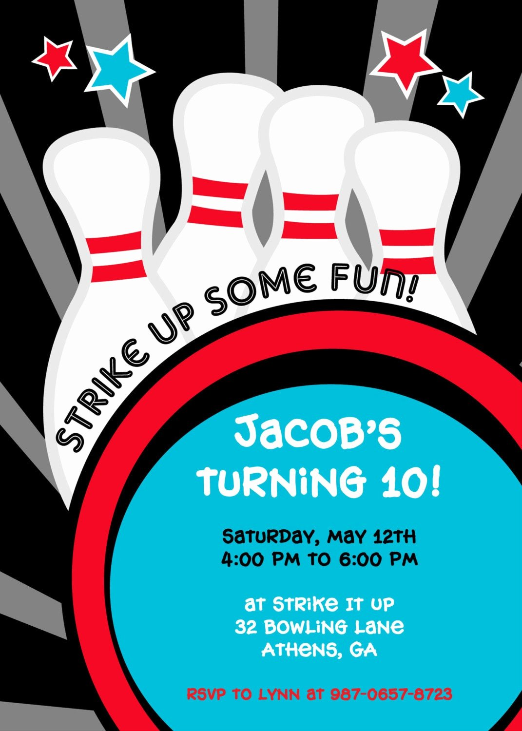 Bowling Party Invitations Templates Lovely Strike It Up Bowling Party Invitation