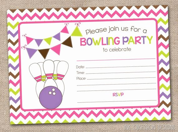 Bowling Party Invitations Templates Luxury Printable Girls Bowling Party Invitation Fill In the Blank