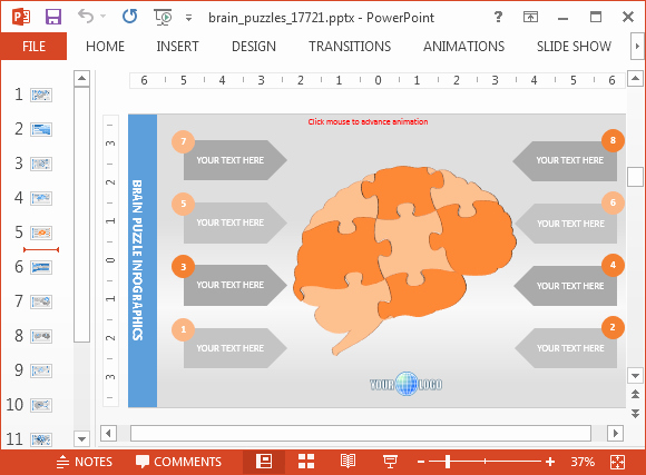 Brain Power Point Templates Beautiful Psychology Powerpoint Template with Brain Puzzle Animations