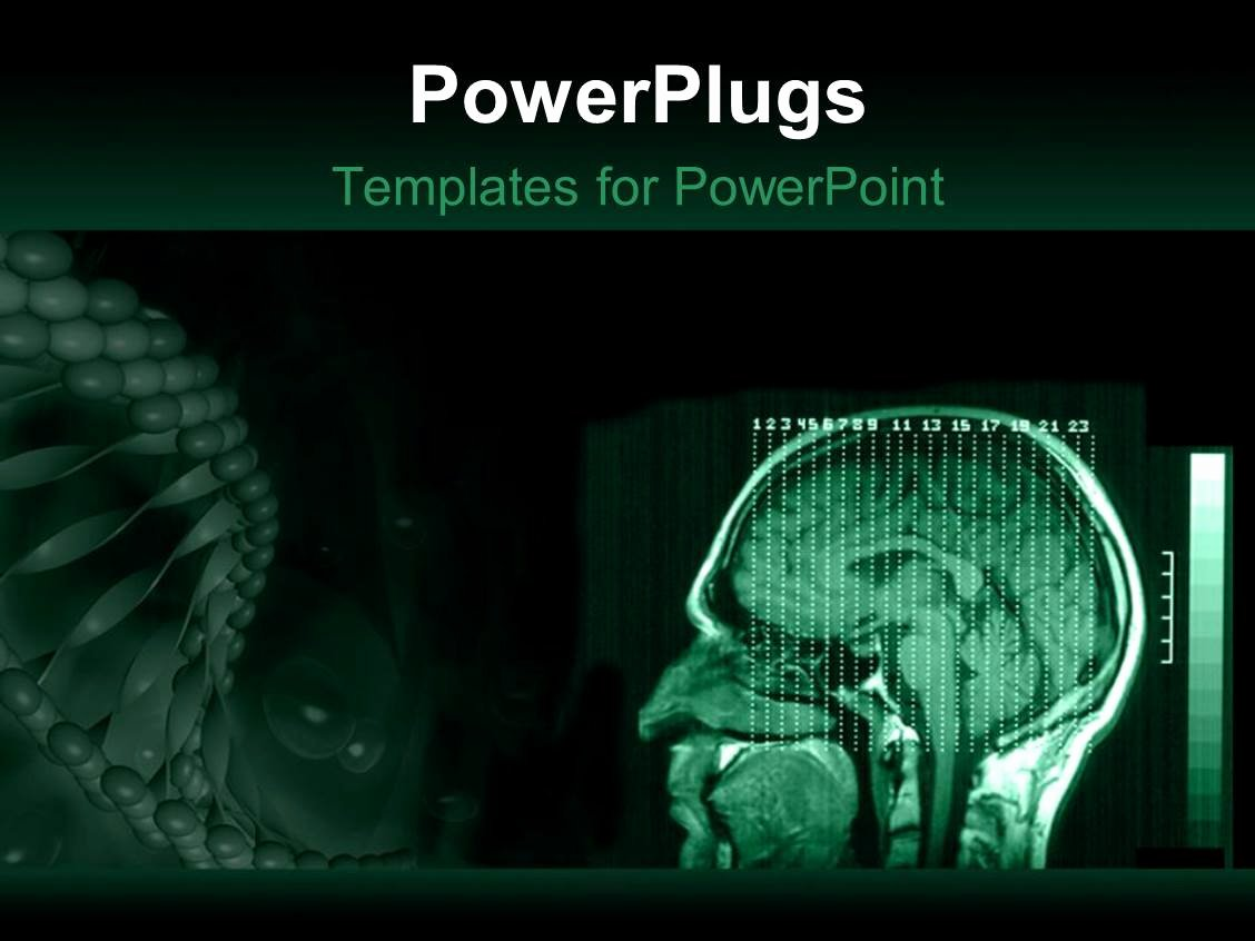 Brain Power Point Templates Lovely Powerpoint Template A Human Brain Mri with Greenish