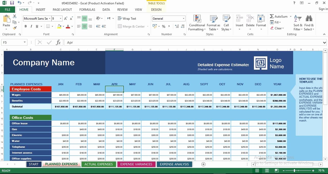 Business Budget Template Excel Beautiful Business Expense Bud Excel Templates Engineering