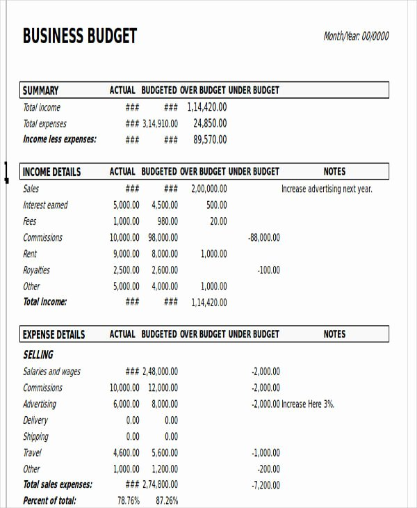 Business Budget Template Excel Elegant 12 Business Bud Templates In Excel Word Pdf