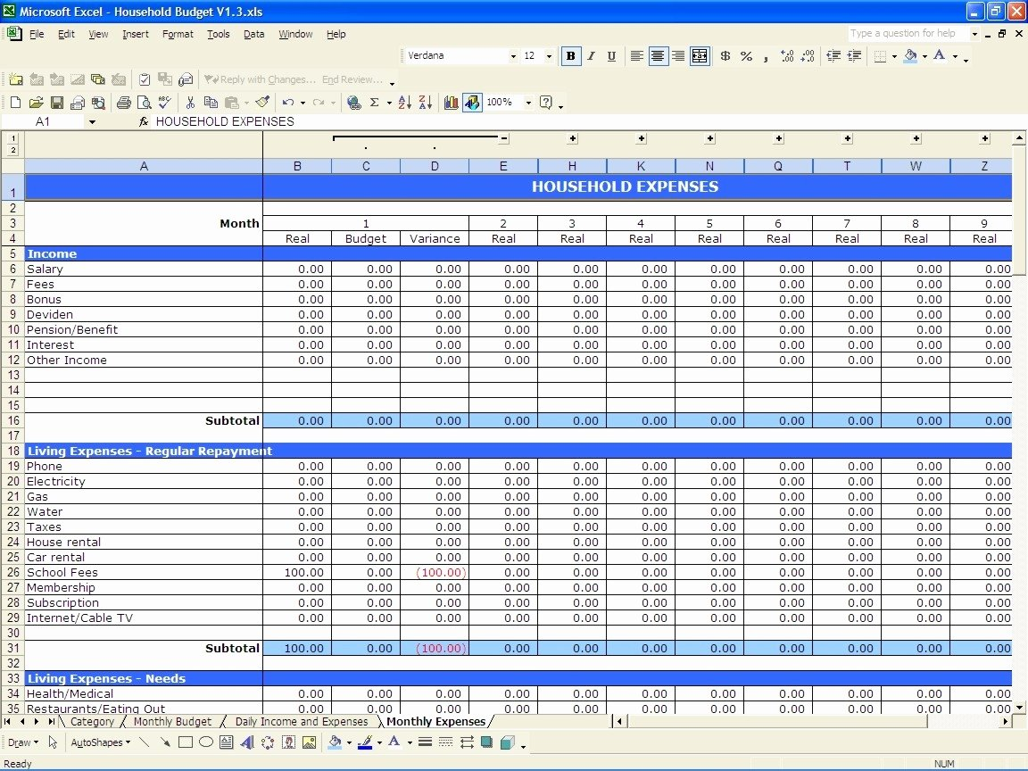 Business Budget Template Excel New 12 Month Business Bud Template Excel Business