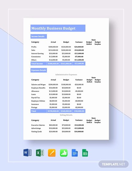 Business Budget Template Excel Unique 13 Small Business Bud Templates Word Pdf Excel