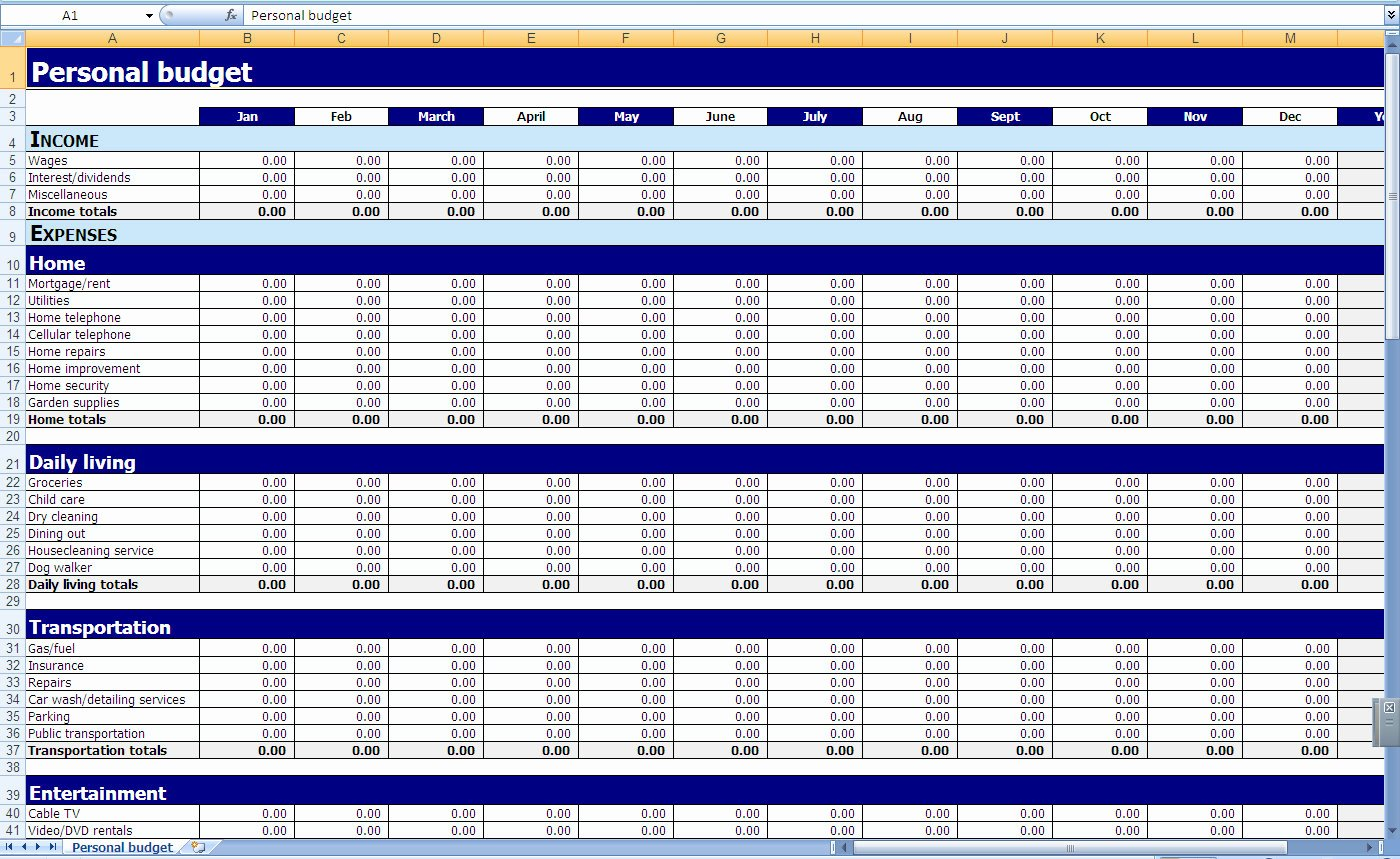 Business Budget Template Excel Unique Excel Templates Personal Finances