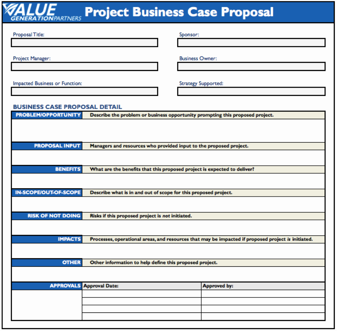 Business Case Template Word Luxury Generating Value by Using A Project Business Case Proposal