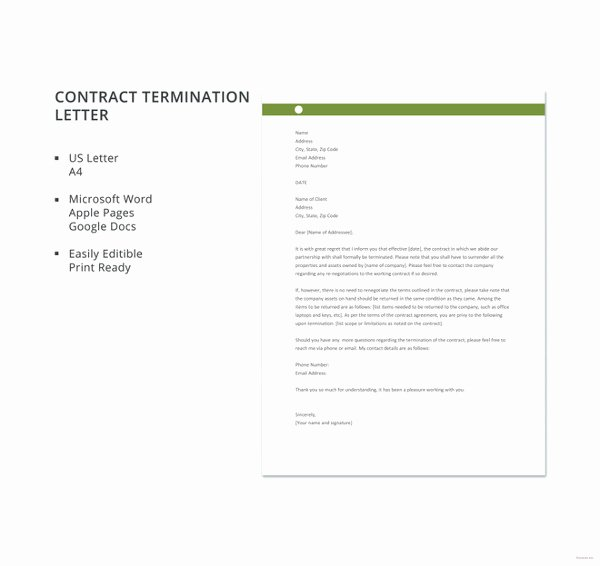 Business Contract Termination Letter Template Beautiful 20 Contract Termination Letter Templates Pdf Doc