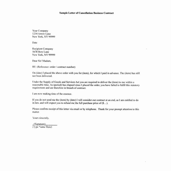 Business Contract Termination Letter Template Beautiful How to Write A Sample Letter Of Cancellation Business Contract