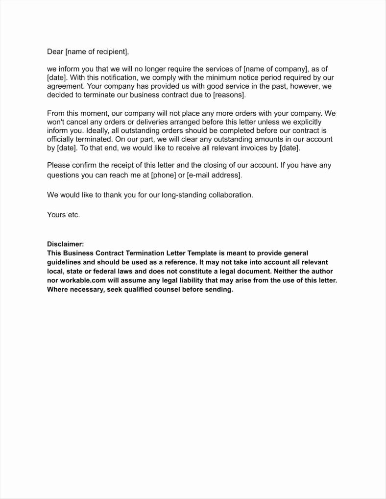 Business Contract Termination Letter Template Best Of 20 Agreement Termination Letters Free Word Pdf Excel