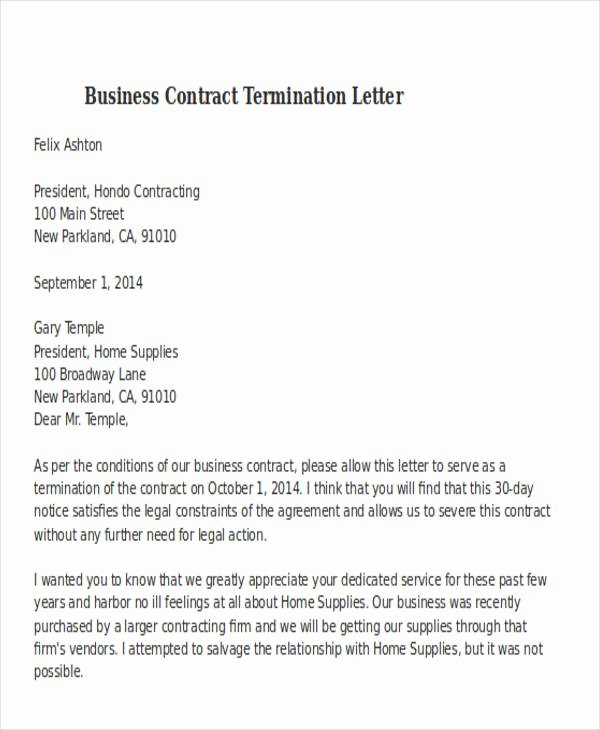 Business Contract Termination Letter Template Best Of 32 Termination Letter Examples Doc Pdf Ai