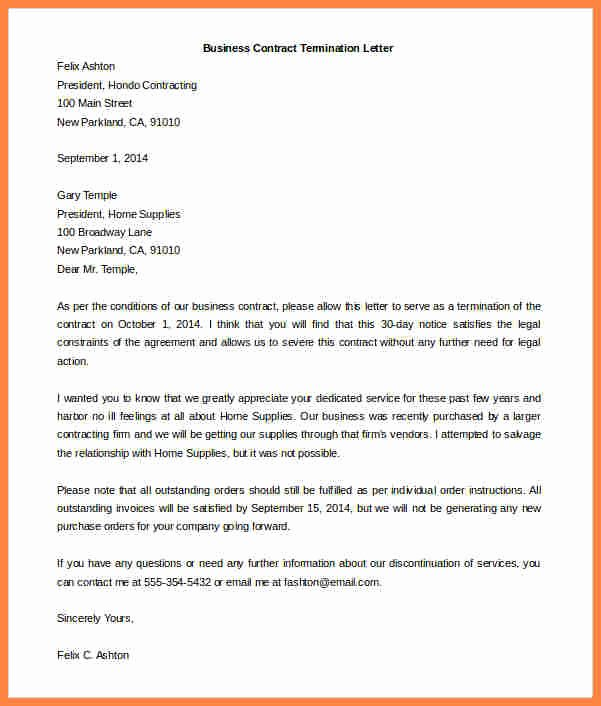 Business Contract Termination Letter Template Best Of 4 Contract Termination Notice Sample