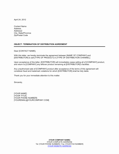 Business Contract Termination Letter Template Best Of Contract Termination Letter