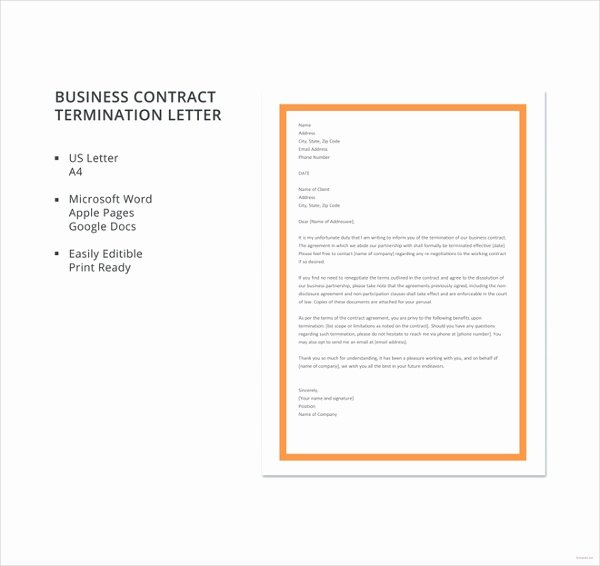 Business Contract Termination Letter Template Elegant Contract Termination Letter 11 Free Word Pdf Documents