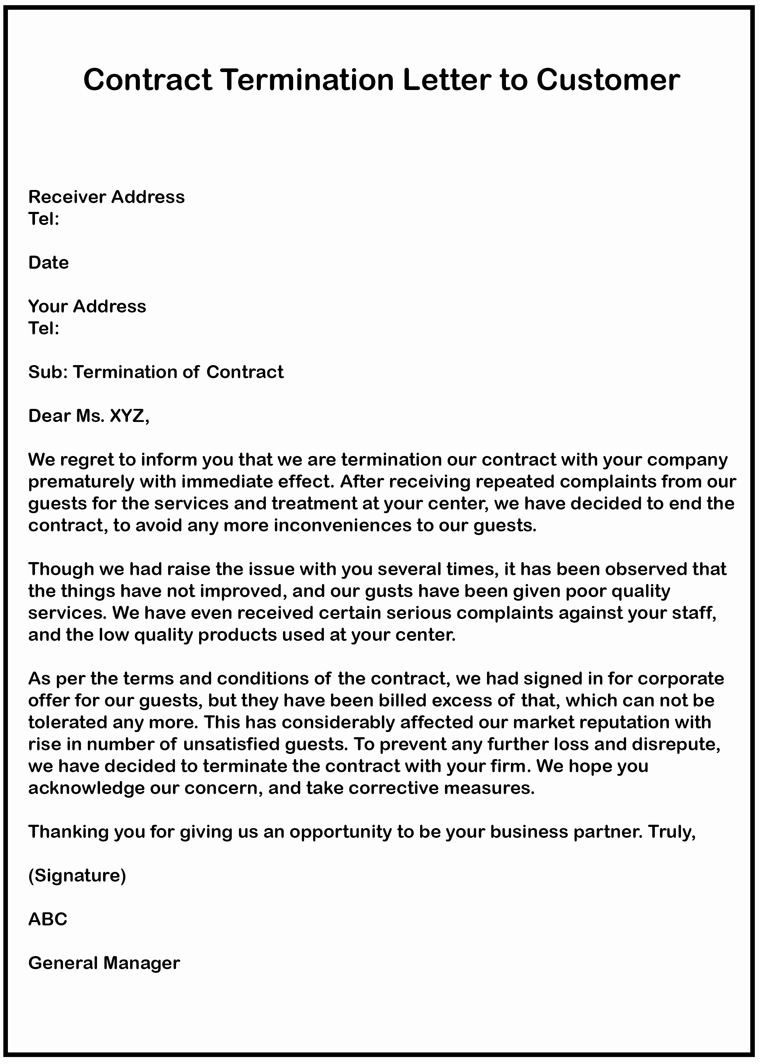 Business Contract Termination Letter Template Inspirational 4 Free Business Contract Termination Letter with Example