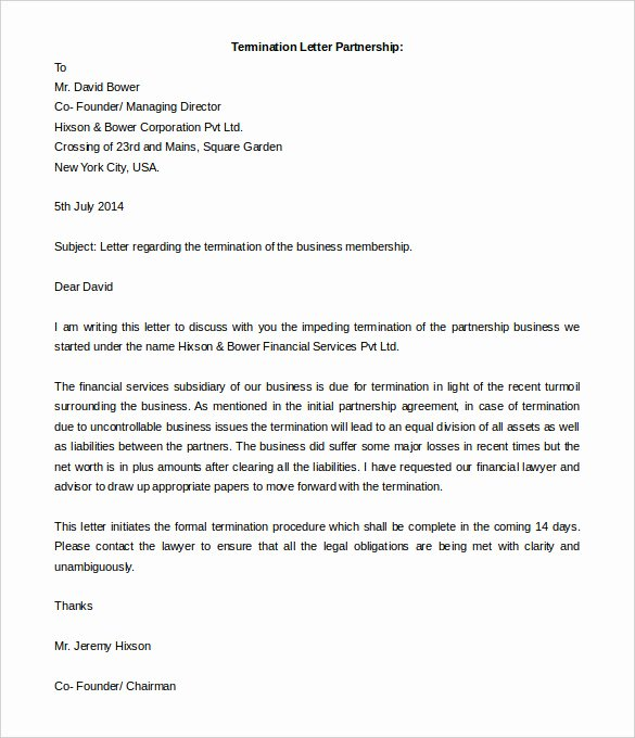 Business Contract Termination Letter Template Lovely 5 Partnership Termination Letters Free Word Pdf