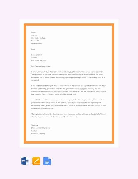 Business Contract Termination Letter Template Luxury Free 11 Sample Contract Termination Letter Examples In