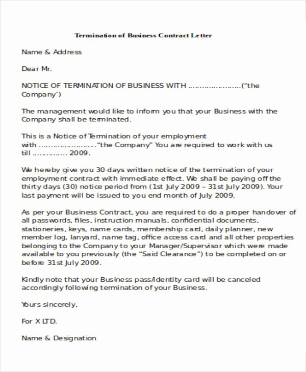 Business Contract Termination Letter Template Unique 7 Sample Termination Of Business Letters Pdf Word