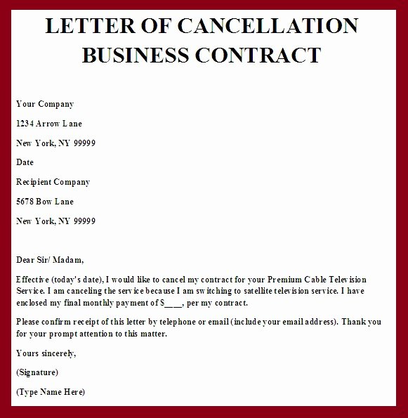 Business Contract Termination Letter Template Unique Contract Termination Letter