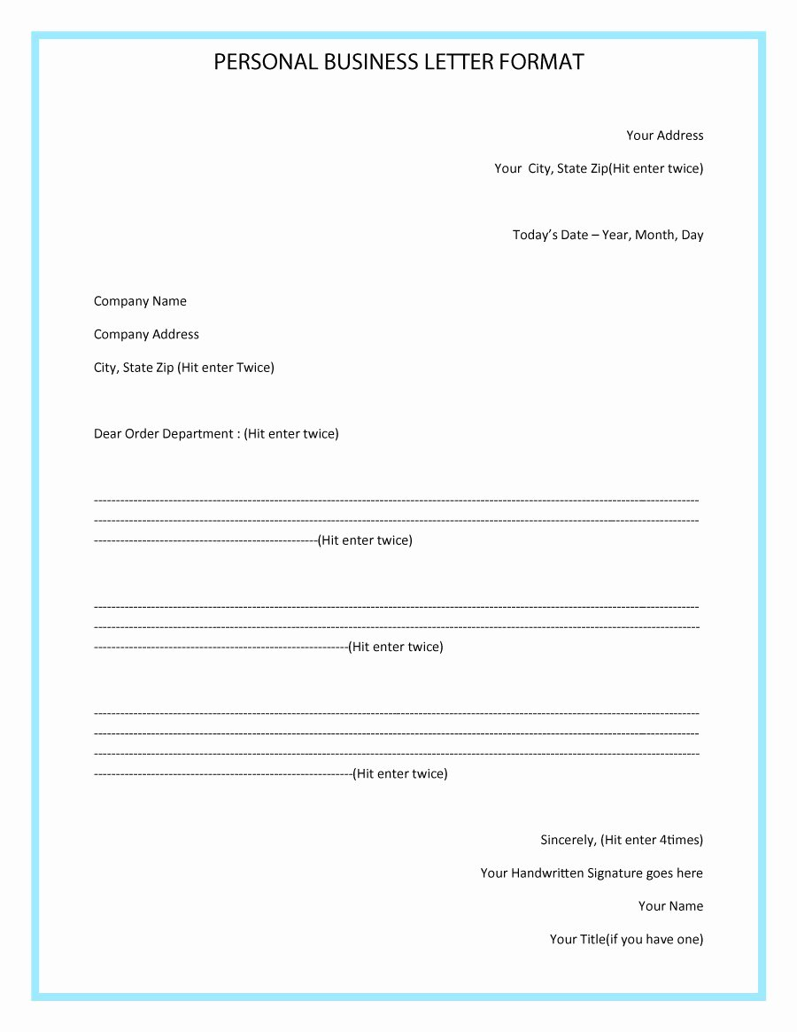 Business Letter format Template Awesome 35 formal Business Letter format Templates & Examples