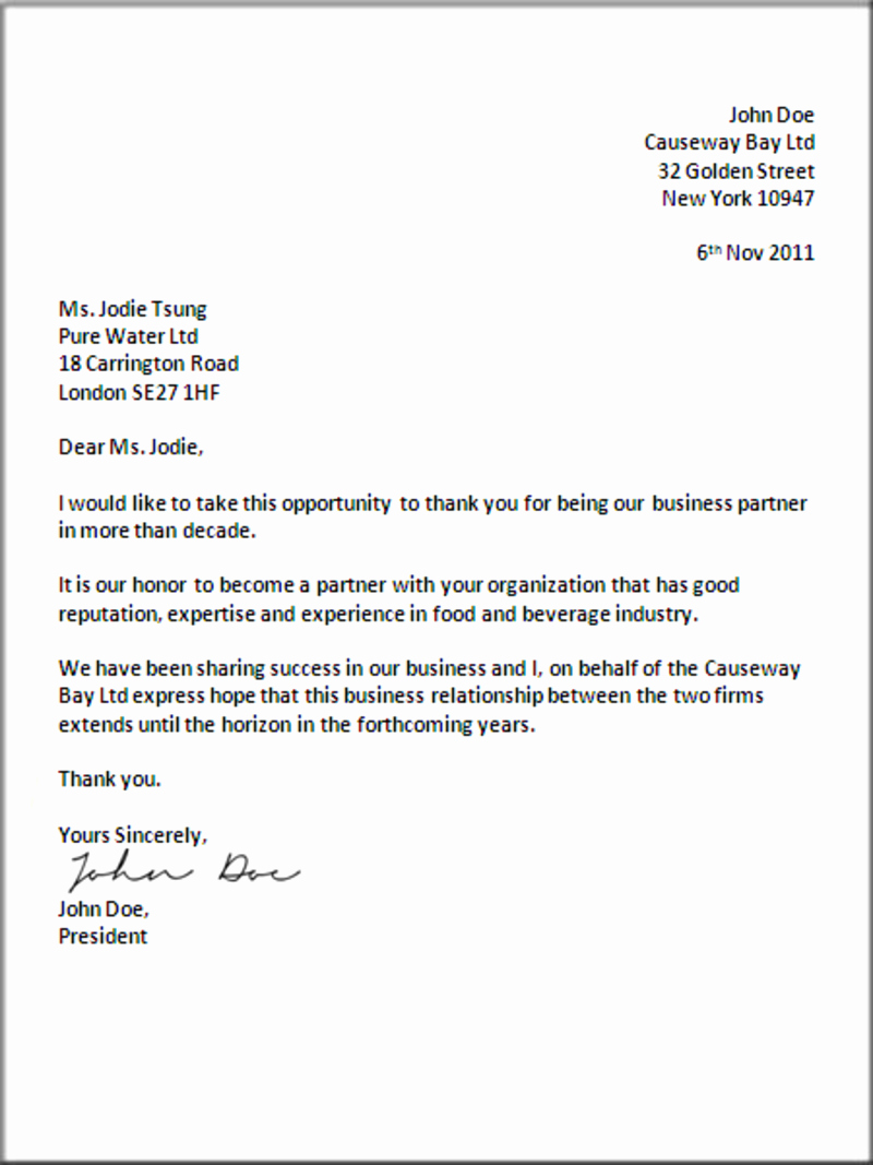 Business Letter format Template Lovely formal Business Letter format