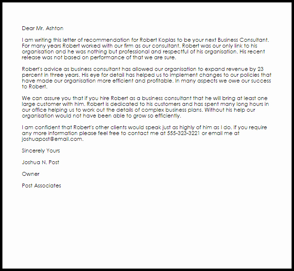 Business Letter Of Recommendation Template Awesome Business Consultant Re Mendation Letter Example