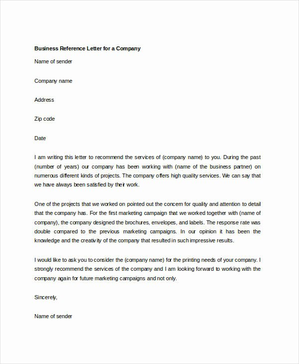Business Letter Of Recommendation Template Fresh 10 Sample Business Reference Letter Templates Pdf Doc
