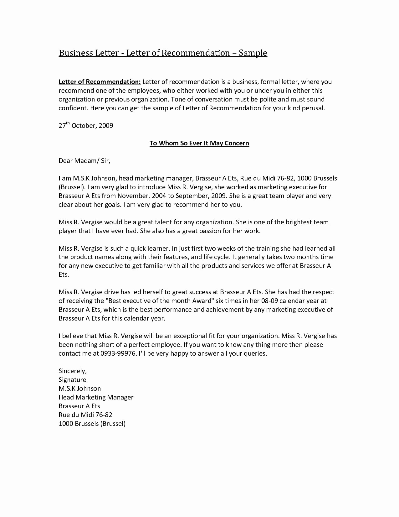 Business Letter Of Recommendation Template Inspirational Preschool Wel E Letter to Parents From Teacher Template