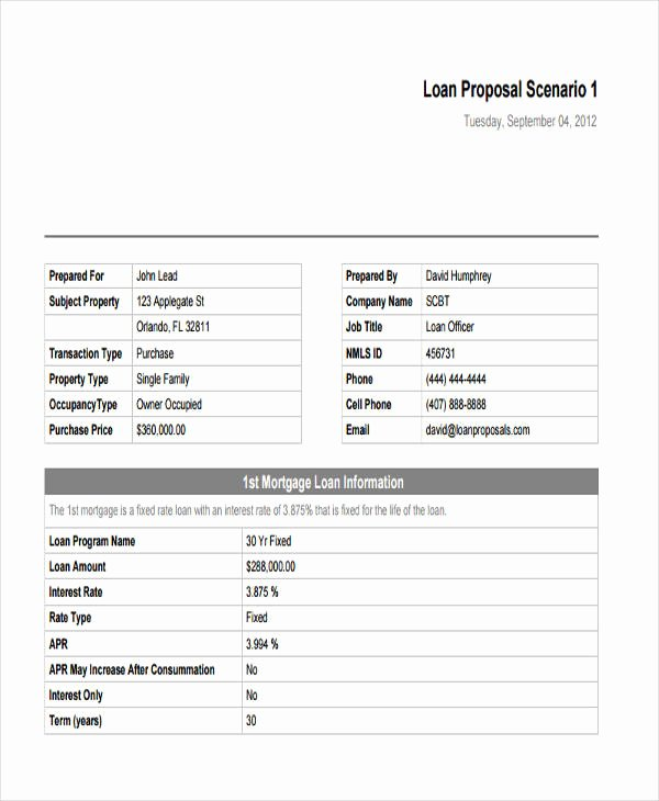 Business Loan Proposal Template Elegant 6 Loan Proposal Templates Word Pdf Pages