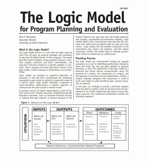 Business Model Template Word Elegant 5 Logic Model Templates Word Pdf