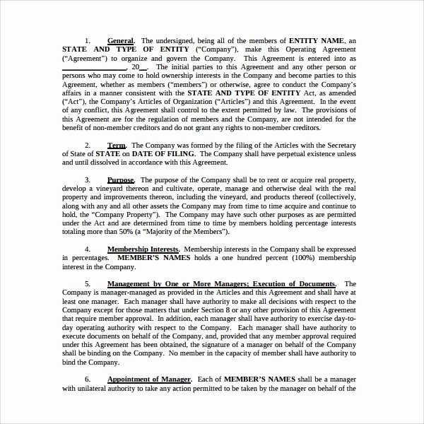 Business Operating Agreement Template Awesome Sample Business Operating Agreement 7 Free Documents