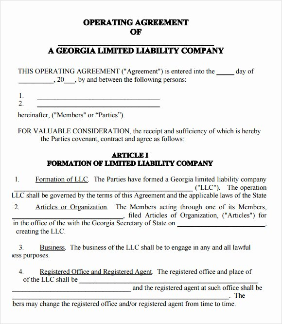 Business Operating Agreement Template Elegant Free 10 Sample Llc Operating Agreement Templates In