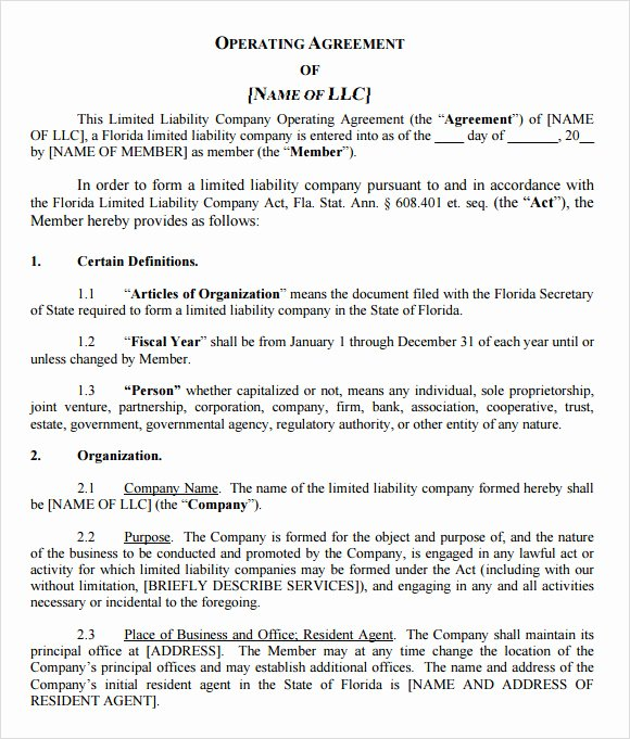 Business Operating Agreement Template Inspirational Free 10 Sample Llc Operating Agreement Templates In