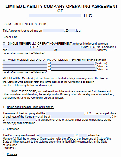Business Operating Agreement Template Inspirational Free Ohio Llc Operating Agreement Template Pdf