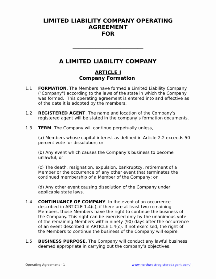 Business Operating Agreement Template Luxury Free Llc Operating Agreement for A Limited Liability Pany
