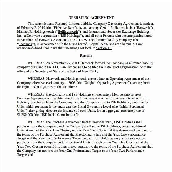 Business Operating Agreement Template New 13 Sample Operating Agreements Pdf Word