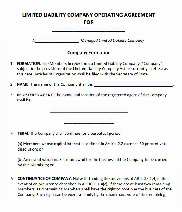 Business Operating Agreement Template New Free 11 Sample Operating Agreement Templates In Google