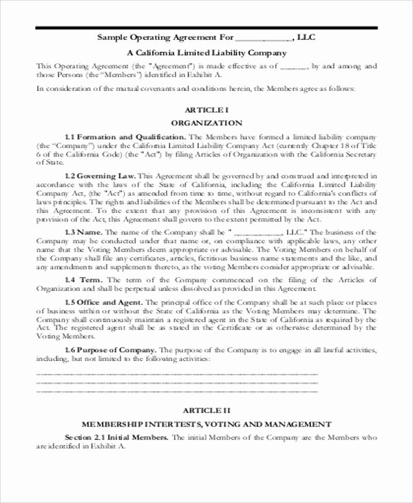 Business Operating Agreement Template Unique Sample Business Operating Agreements 8 Examples In Word