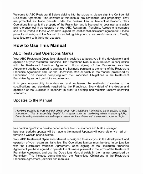Business Operations Manual Template New Sample Operation Manual 7 Documents In Word Pdf