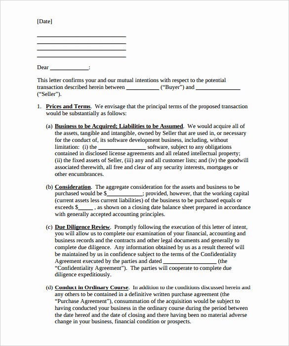 Business Purchase Agreement Word Template Best Of 9 Purchase Letter Intent Free Word Pdf format