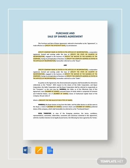 Business Purchase Agreement Word Template Lovely Free 19 Sample Purchase and Sale Agreements In Google