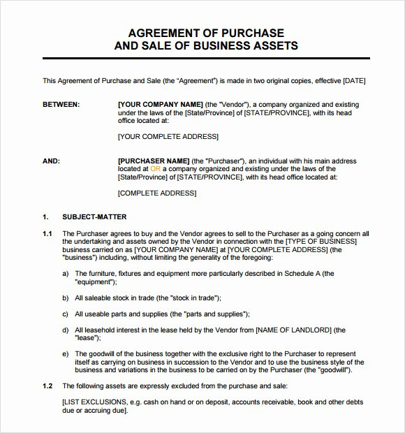 Business Purchase Agreement Word Template Luxury Sample asset Purchase Agreement 12 Documents In Word Pdf