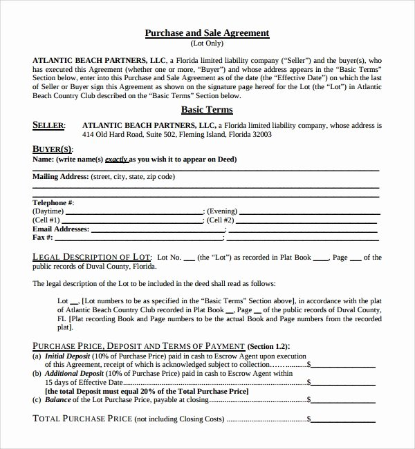 Business Purchase Agreement Word Template Unique Sample Purchase and Sale Agreement 9 Free Documents