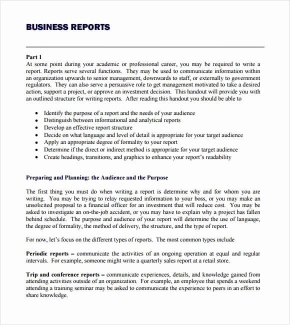 Business Report Template Word Lovely Business Report Template Writing Word Excel format