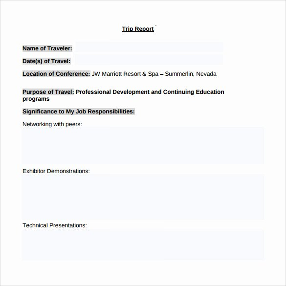 Business Report Template Word Unique 25 Sample Trip Reports Word Pdf Google Docs Apple Pages