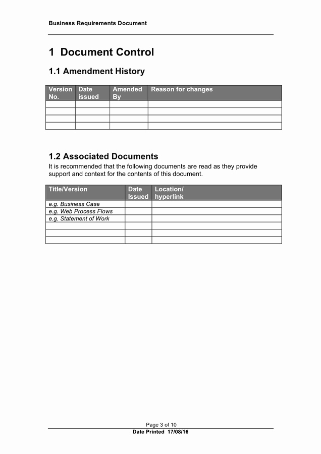 Business Requirements Document Template Word Awesome Business Requirements Document Template In Word and Pdf