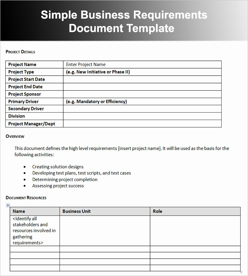 Business Requirements Document Template Word Luxury Business Requirements Document Template