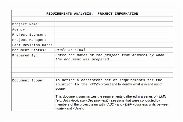 Business Requirements Document Template Word Luxury Requirement Analysis Template 9 Download Free Documents