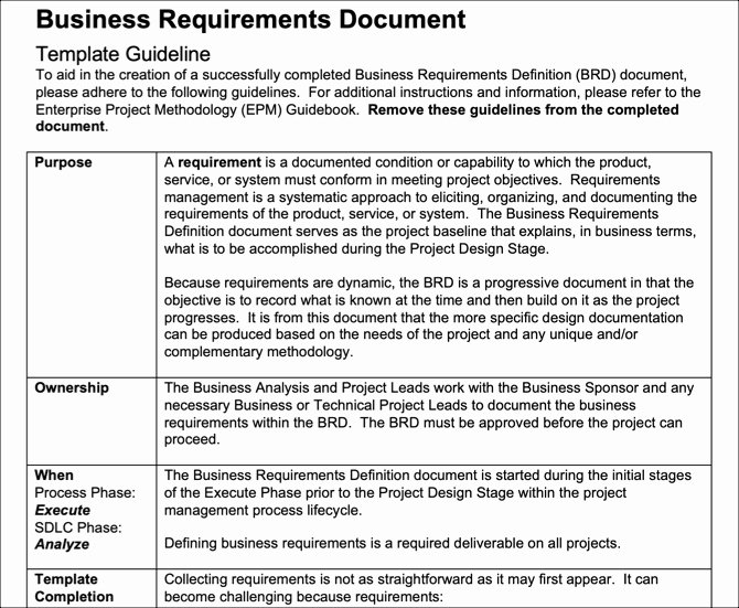 Business Requirements Document Template Word Unique 6 Free Business Requirements Document Templates for