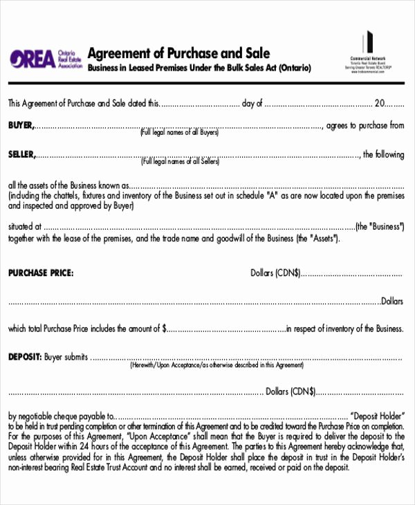 Business Sale Agreement Template Beautiful 8 Sample Purchase and Sale Of Business Agreements
