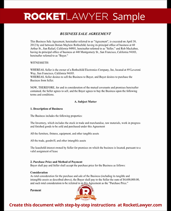 Business Sale Agreement Template Beautiful Business Sale Agreement Contract form with Template & Sample